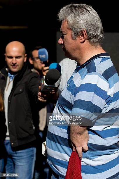 Rafael Basterrechea Vice President of AVITE speaks to members of the media outoside court after the first day of a trial involving the German...