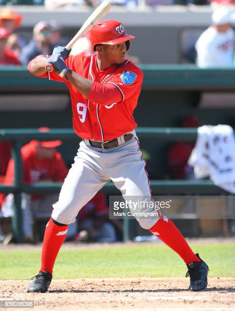 Rafael Bautista of the Washington Nationals bats during the Spring Training game against the Detroit Tigers at Publix Field at Joker Marchant Stadium...
