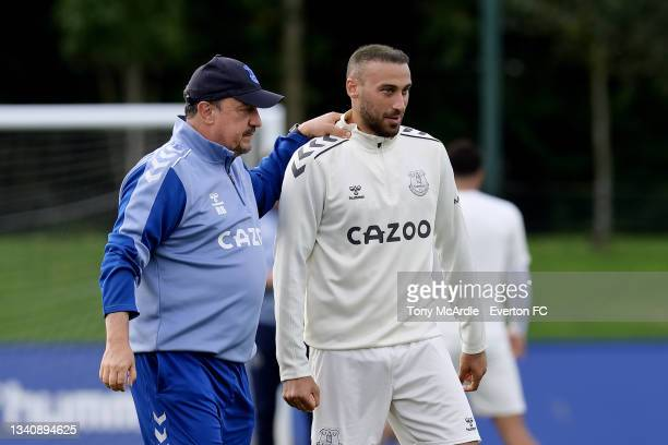 Rafael Benitez and Cenk Tosun during the Everton Training Session at USM Finch Farm on September 16 2021 in Halewood, England.