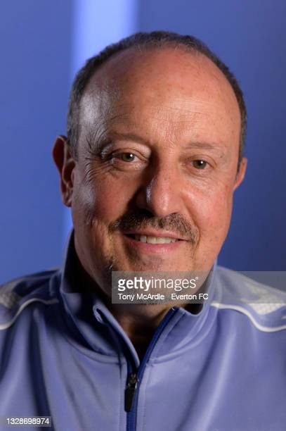 Rafael Benitez during his first press conference as Everton manager at USM Finch Farm on July 14 2021 in Halewood, England.
