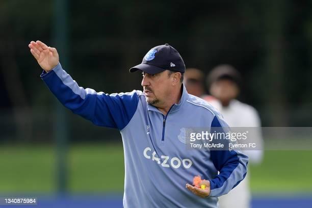 Rafael Benitez during the Everton Training Session at USM Finch Farm on September 16 2021 in Halewood, England.