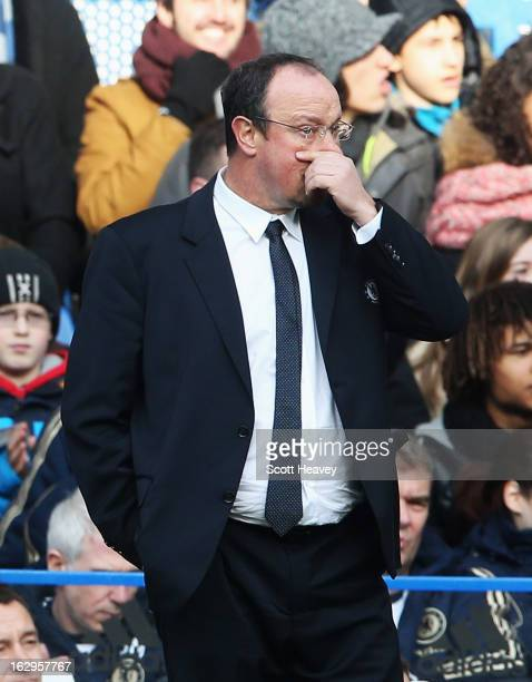 Rafael Benitez interim manager of Chelsea looks on during the Barclays Premier League match between Chelsea and West Bromwich Albion at Stamford...