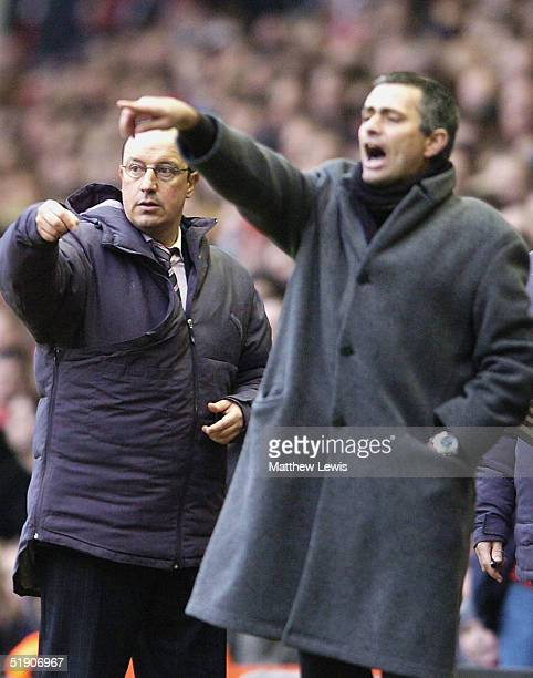 Rafael Benitez manager of Liverpool and Jose Mourinho manager of Chelsea give their orders from the sidelines during the FA Barclays Premiership...