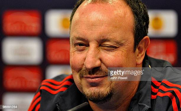 Rafael Benitez manager of Liverpool attends a press conference ahead of the UEFA Europa League semi-final first leg match against Atletico Madrid on...
