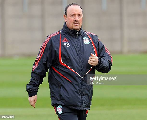 Rafael Benitez manager of Liverpool during a Liverpool FC training session at Melwood Training Ground ahead of their UEFA Europa league quarter final...