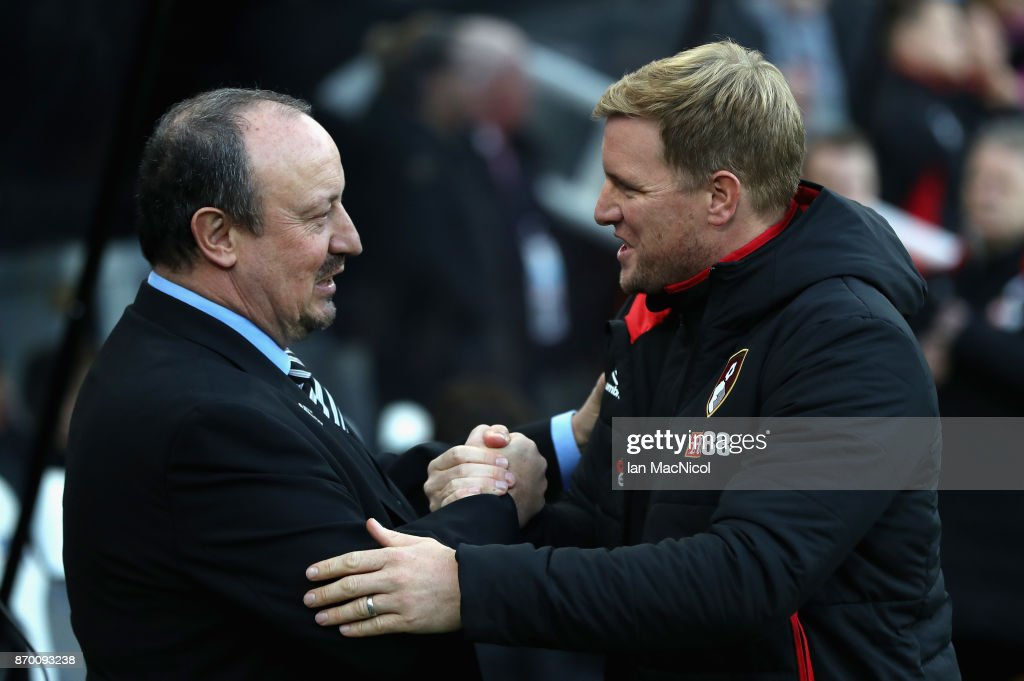 Rafael Benitez, Manager of Newcastle United and Eddie Howe, Manager of AFC Bournemouth greet each other prior to the Premier League match between Newcastle United and AFC Bournemouth at St. James Park on November 4, 2017 in Newcastle upon Tyne, England.