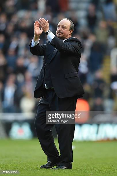 Rafael Benitez manager of Newcastle United applauds the home supporters after the Barclays Premier League match between Newcastle United and Crystal...
