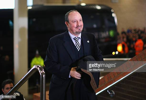 Rafael Benitez manager of Newcastle United arrives for the Barclays Premier League match between Newcastle United and Sunderland at St James' Park on...