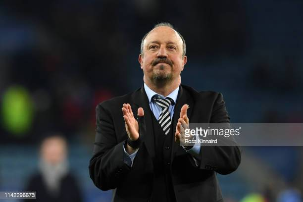 Rafael Benitez, Manager of Newcastle United celebrates following his sides victory in the Premier League match between Leicester City and Newcastle...
