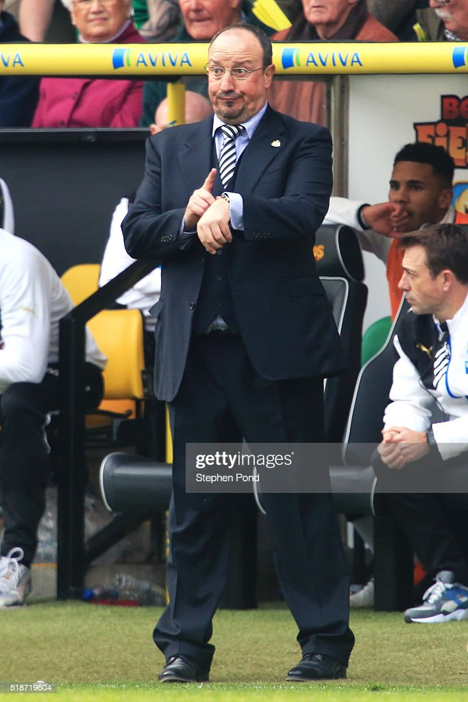 Rafael Benitez manager of Newcastle United gestures during the Barclays Premier League match between Norwich City and Newcastle United at Carrow Road on April 2, 2016 in Norwich, England.