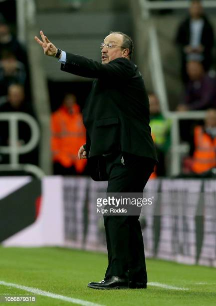 Rafael Benitez Manager of Newcastle United gives his team instructions during the Premier League match between Newcastle United and Watford FC at St...
