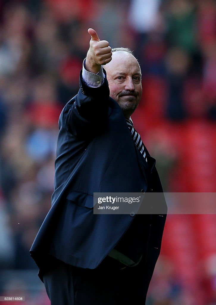 Rafael Benitez manager of Newcastle United gives the thimbs up during the Barclays Premier League match between Liverpool and Newcastle United at Anfield on April 23, 2016 in Liverpool, United Kingdom.