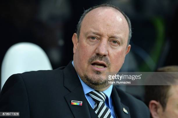 Rafael Benitez Manager of Newcastle United looks on wearing rainbow pin badge during the Premier League match between Newcastle United and Watford at...