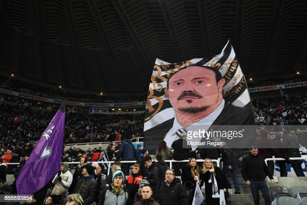 Rafael Benitez Manager of Newcastle United on a banner prior to the Premier League match between Newcastle United and Leicester City at St James Park...