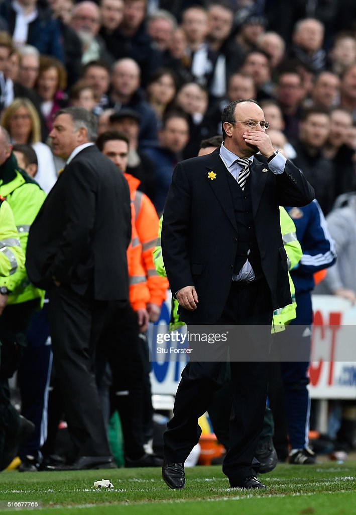 Rafael Benitez manager of Newcastle United reacts during the Barclays Premier League match between Newcastle United and Sunderland at St James' Park on March 20, 2016 in Newcastle upon Tyne, United Kingdom.
