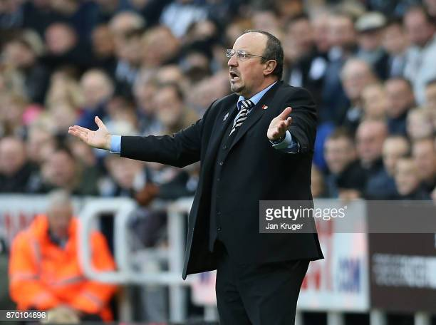 Rafael Benitez Manager of Newcastle United reacts during the Premier League match between Newcastle United and AFC Bournemouth at St James Park on...