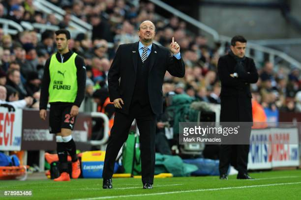 Rafael Benitez Manager of Newcastle United reacts during the Premier League match between Newcastle United and Watford at St James Park on November...