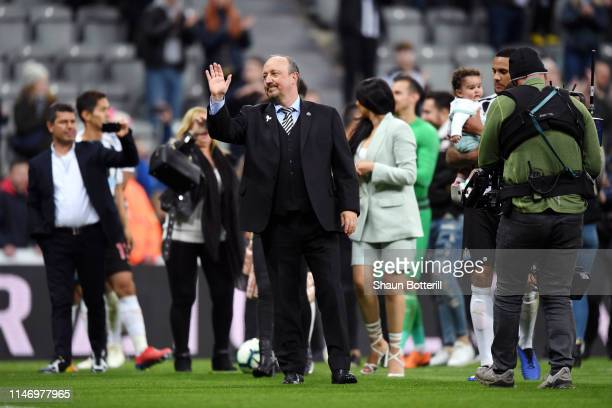 Rafael Benitez Manager of Newcastle United shows appreciation to the fans after the Premier League match between Newcastle United and Liverpool FC at...