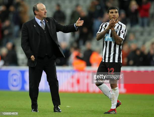 Rafael Benitez Manager of Newcastle United speaks to Deandre Yedlin of Newcastle United after the Premier League match between Newcastle United and...
