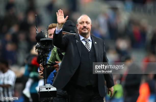 Rafael Benitez, Manager of Newcastle United waves to the crowd after the Premier League match between Newcastle United and Liverpool FC at St. James...