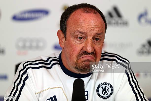 Rafael Benitez of Chelsea speaks to the media during a press conference on March 1, 2013 in Cobham, England.