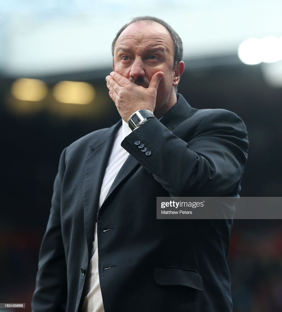 Rafael Benitez of Chelsea walks off at halftime during the FA Cup Sixth Round match between Manchester United and Chelsea at Old Trafford on March 10, 2013 in Manchester, England.