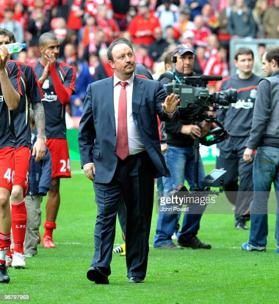 Rafael Benitez of liverpool walks round at the end of the Barclays Premier League match between Liverpool and Chelsea at Anfield on May 2, 2010 in...