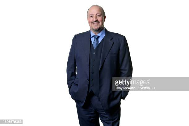Rafael Benitez poses for a photo after becoming manager of Everton on June 30 2021 in Halewood, England.