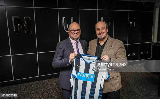 Rafael Benitez poses for photographs with Managing Director Lee Charnley after signing as Newcastle United's new manager at StJames' Park on March 11...