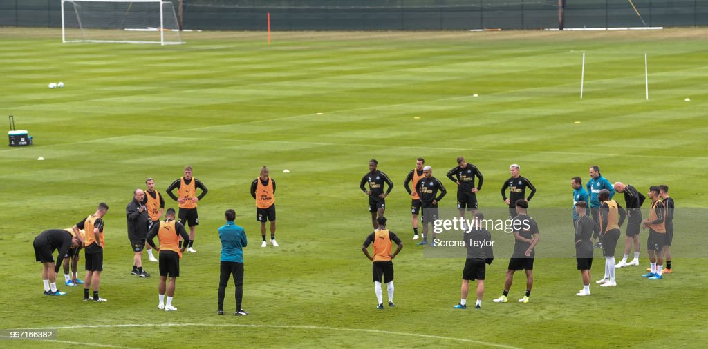 Rafael Benitez (fourth from left) talks to the team during the Newcastle United Training session at Carton House on July 12, 2018, in Kildare, Ireland.