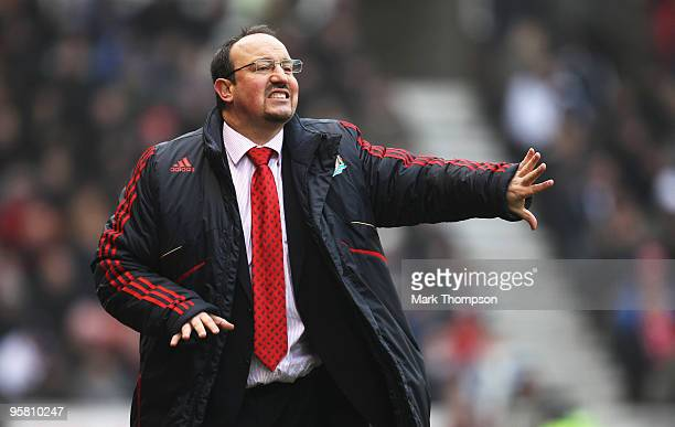 Rafael Benitez the manager of Liverpool during the Barclays Premier League match between Stoke City and Liverpool at the Britannia Stadium on January...