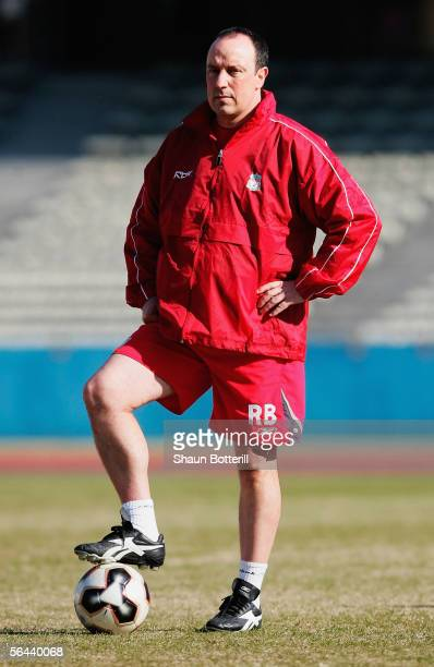 Rafael Benitez watches over the team during training at the Todoroki Track and Field Stadium on December 16 2005 in Tokyo Japan