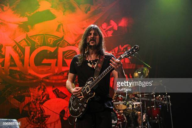 Rafael Bittencourt of Angra band performs in Rio de Janeiro Brazil August 26 2016 on tour celebrating the 20th anniversary of the release of the...