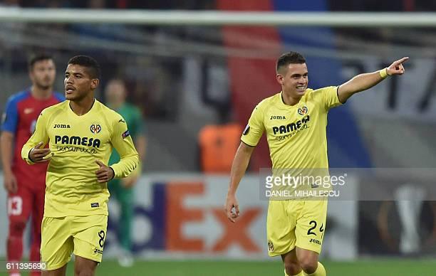 Rafael Borre of Villarreal FC celebrates after he scored 10 against of Steaua Bucharest during the UEFA Europa League firstleg football match between...