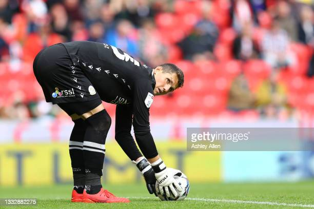 Rafael Cabral of Reading FC during the Sky Bet Championship match between Stoke City and Reading at Bet365 Stadium on August 07, 2021 in Stoke on...