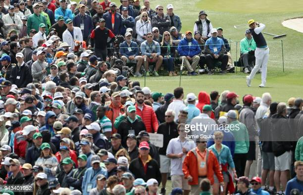 Rafael CabreraBello of Spain plays his shot from the third tee during the final round of the 2018 Masters Tournament at Augusta National Golf Club on...