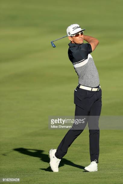 Rafael CabreraBello of Spain plays his shot on the second hole during Round Two of the ATT Pebble Beach ProAm at Pebble Beach Golf Links on February...