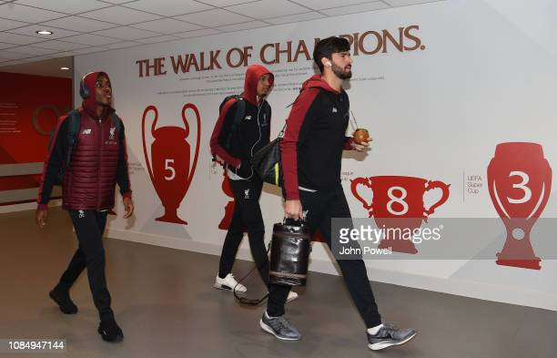 Rafael Camacho Fabinho and Alisson Becker of Liverpool arriving before the Premier League match between Liverpool FC and Crystal Palace at Anfield on...