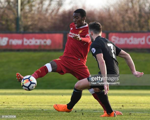 Rafael Camacho of Liverpool and Sead Haksabanovic of West Ham United in action during the Liverpool v West Ham United PL2 game at The Kirkby Academy...