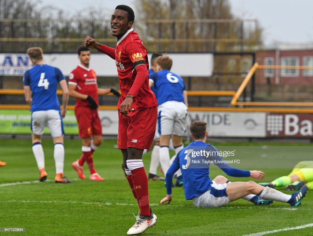 Rafael Camacho of Liverpool celebrates after his cross is inadvertently put into his own net by Lewis Gibson of Everton during the Everton v Liverpool PL2 game on April 16, 2018 in Southport, England.