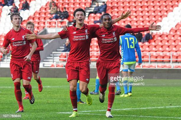 Rafael Camacho of Liverpool celebrates his goal with Curtis Jones during the UEFA Youth League match between Liverpool and SSC Napoli at Langtree...