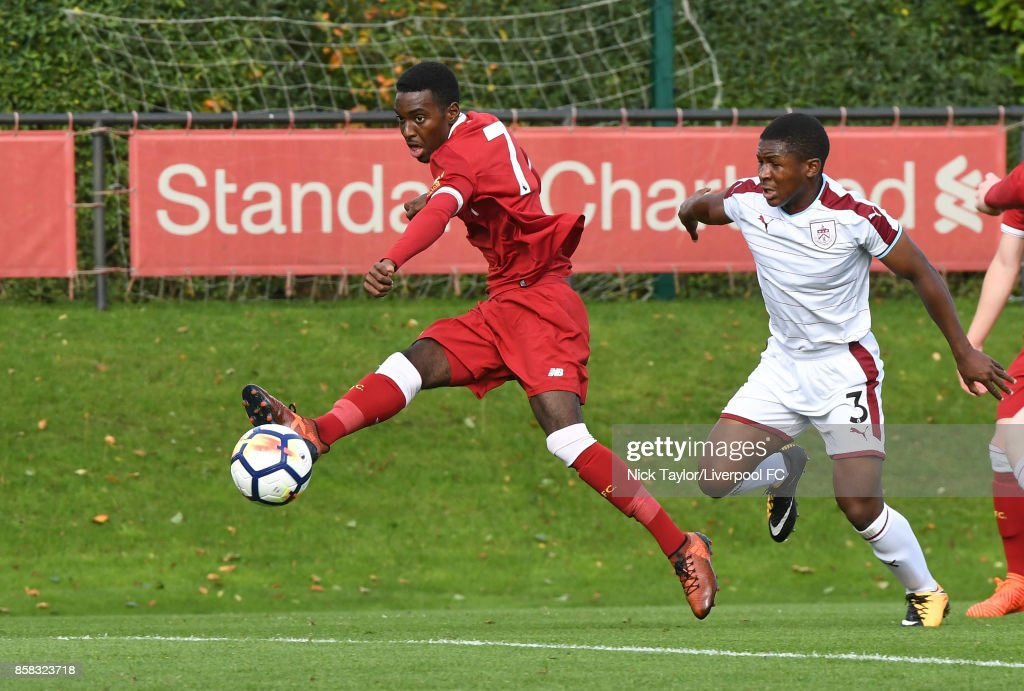 Rafael Camacho of Liverpool in action during the U18 friendly match between Liverpool and Burnley at The Kirkby Academy on October 6, 2017 in Kirkby, England.