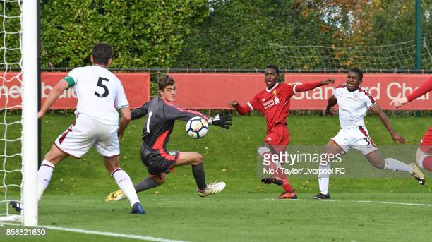 Rafael Camacho of Liverpool watches his shot cleared off the goal line by a Burnley defender during the U18 friendly match between Liverpool and...