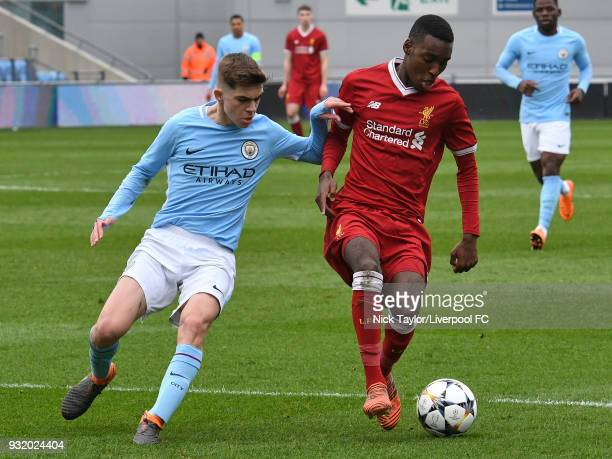 Rafael Camcho of Liverpool and Iker Pozo of Manchester City in action during the Manchester City v Liverpool UEFA Youth League game at Manchester...