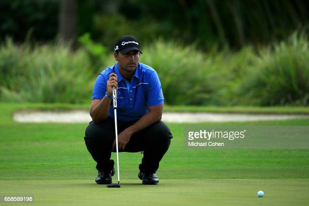 Rafael Campos of Puerto Rico lines up a putt during the final round of the Puerto Rico Open at Coco Beach on March 26 2017 in Rio Grande Puerto Rico
