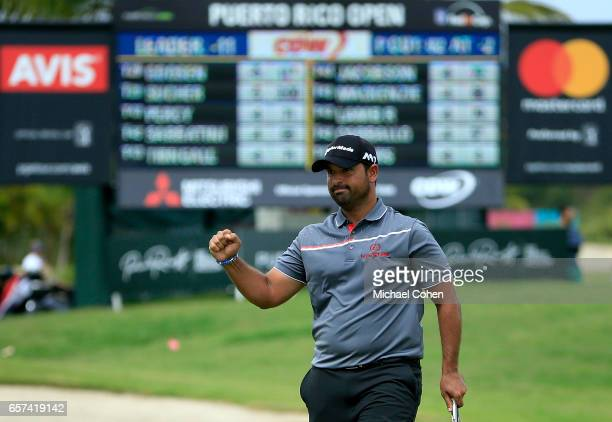Rafael Campos of Puerto Rico reacts after making his birdie putt on the 18th green during the second round of the Puerto Rico Open at Coco Beach on...