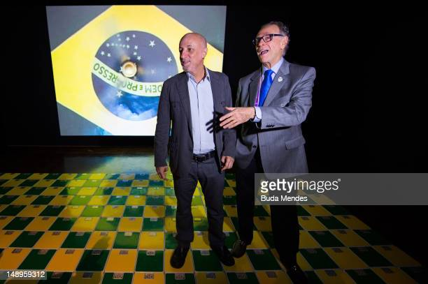 Rafael Cardoso, curator of the exhibition and Carlos Arthur Nuzman, President of Rio 2016 and the Brazilian Olympic Committee talk during the...
