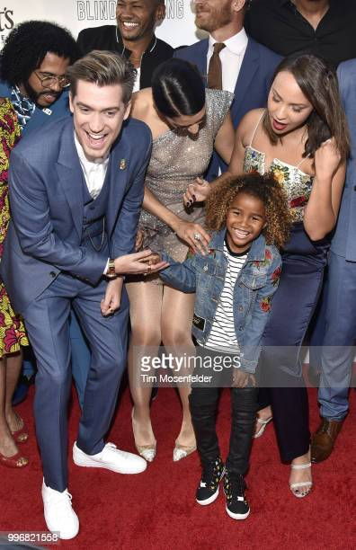 Rafael Casal Janina Gavankar and Jasmine Cephas Jones and a young guest attend the premiere of Summit Entertainment's 'Blindspotting' at The Grand...