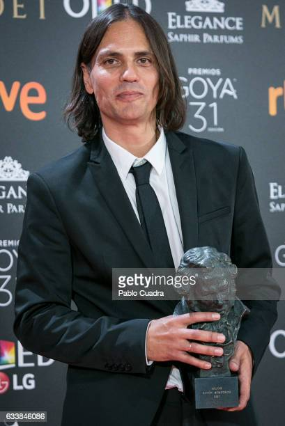 Rafael Cobos holds the award for the best adapted screenplay award during the 31st edition of the Goya Cinema Awards at Madrid Marriott Auditorium on...