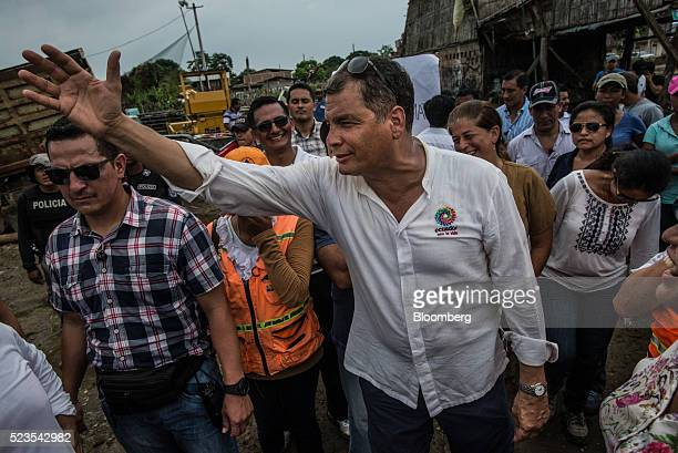 Rafael Correa president of Ecuador visits communities severely damaged by an earthquake in Jama Ecuador on Friday April 22 2016 World leaders from...